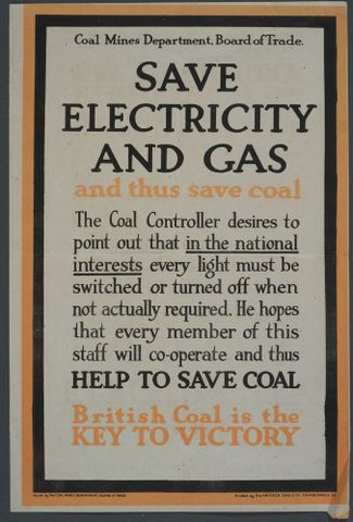 GH014079; Poster, 'Save Electricity And Gas'; 1914 - 1918; The Haycock Cadle Co.; Screen print on wove paper; cropped (image/jpeg)