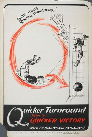 GH015359; Poster, 'Crikey - That's Quicker Turnround!'; Early 1940s; J. Weiner Ltd; cropped (image/jpeg)
