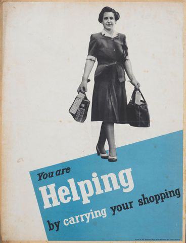 GH015158; Poster, 'You are helping by carrying your shopping'; Early 1940s; Henry Hildesley Ltd.; cropped (image/jpeg)