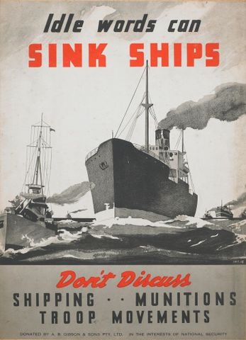 Poster, 'Idle words can sink ships'