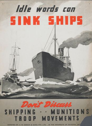 GH015167; Poster, 'Idle words can sink ships'; Early 1940s; Unknown; cropped (image/jpeg)