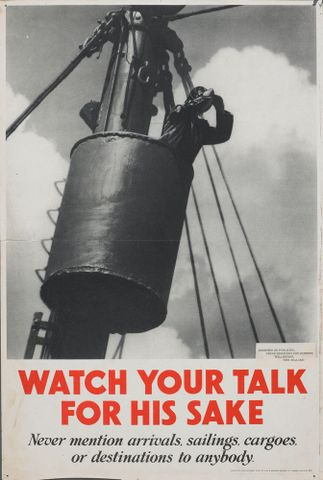 GH015169; Poster, 'Watch your talk for his sake'; Early 1940s; Lowe & Brydone Printers Limited; cropped (image/jpeg)