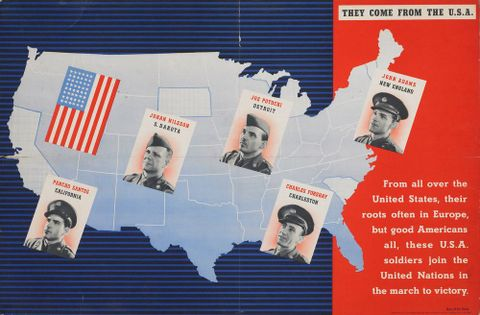 GH014909; Poster, 'They Come From The U.S.A.'; Early 1940s; Pick, Beverley; cropped (image/jpeg)