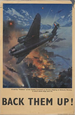 "Poster, 'A raid by ""Hudsons"" of the Coastal Command'"