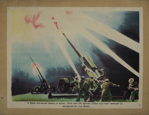 GH015662; Poster, 'A British Anti-aircraft Battery in action'; Early 1940s; Gardner, James; cropped (image/jpeg)