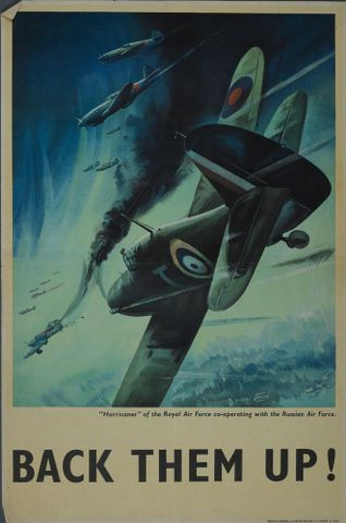 "GH015709; Poster, '""Hurricanes"" of the Royal Air Force';1941; Jobson; cropped (image/jpeg)"
