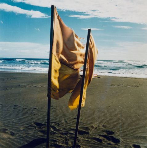 Hannken, Peter; Two flags, Bethell's Beach, 1981; cropped (image/jpeg)