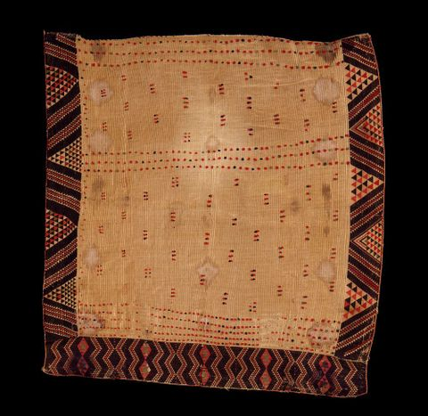 Kaitaka paepaeroa with ngore (cloak with taaniko borders and vertical aho, weft rows)